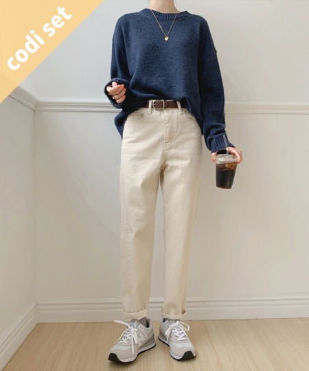 Ready Round Knit Wool 60% + Powder Cotton Pants