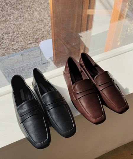 Slim square loafers