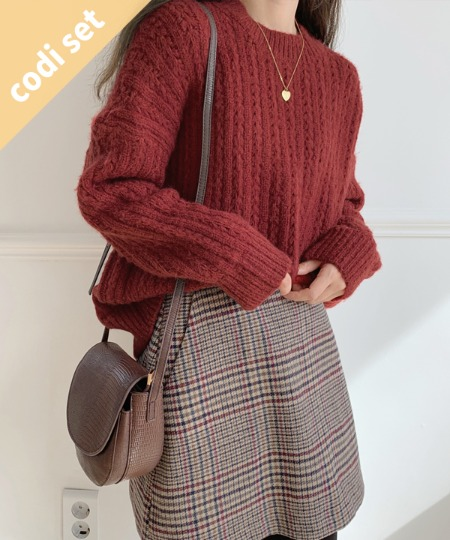 Male wool knit + modern check skirt