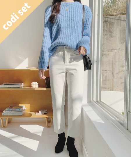 Meringue wool knit + Dani brushed pants