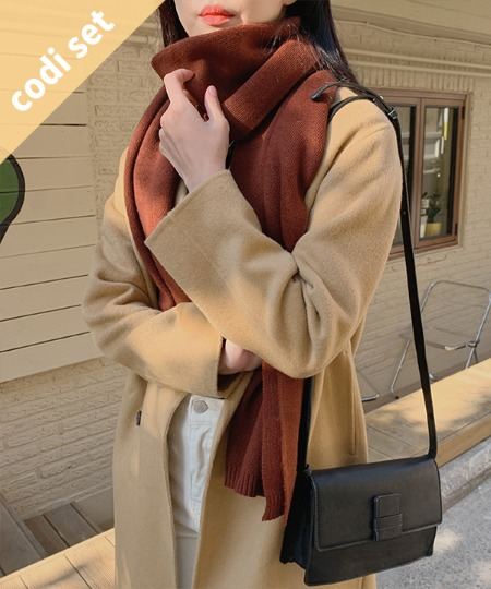 Morse double coat wool 90% + mold ribbed knit + simple wool scarf