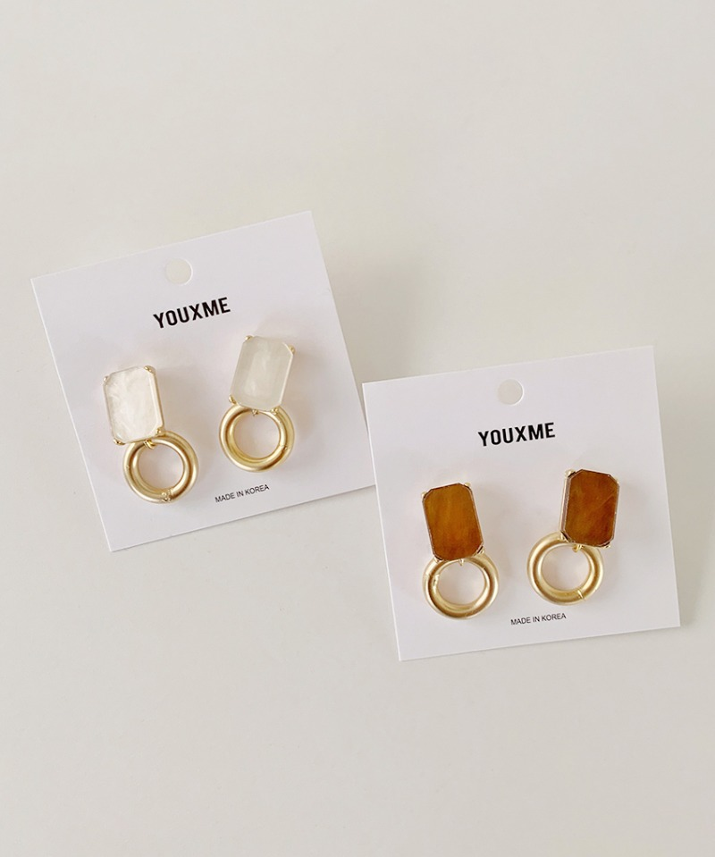 Marble stone ring earrings