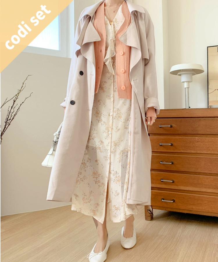 Howl Belt Trench Coat + Vita Cardigan (Wool 60%) + Watercolor Ruffled Dress