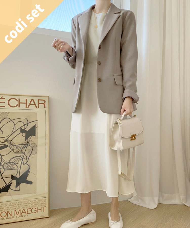 Pocky Beige Jacket + Sky Chiffon Long Dress