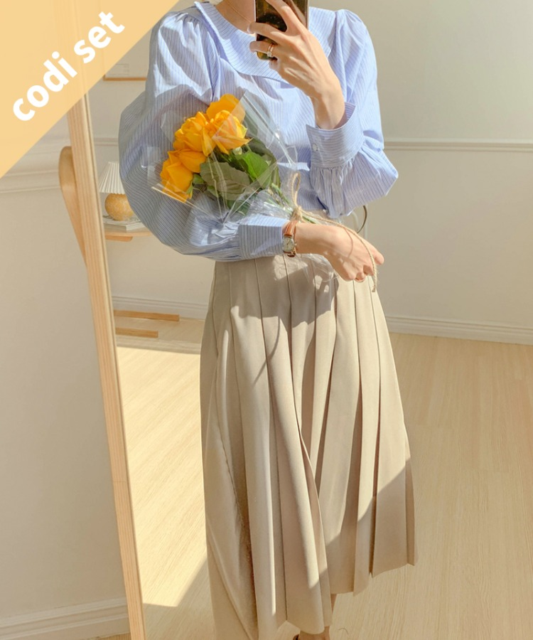 Monet Boat Neck Blouse + Clementine Pleated Skirt