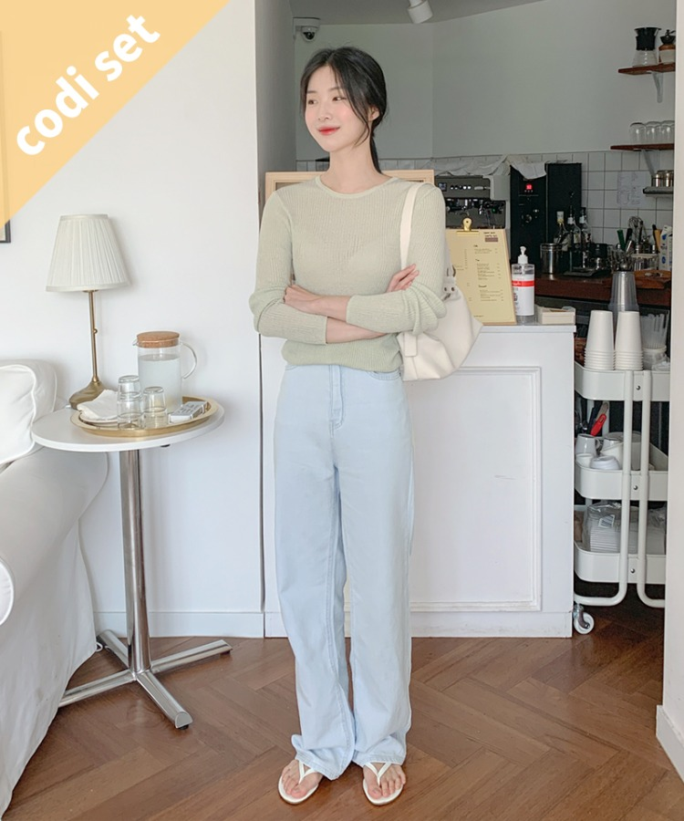 Sherbet see-through knit + monday light blue pants