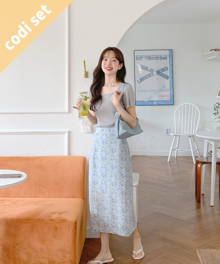Cooling summer knit + zanzan flower skirt