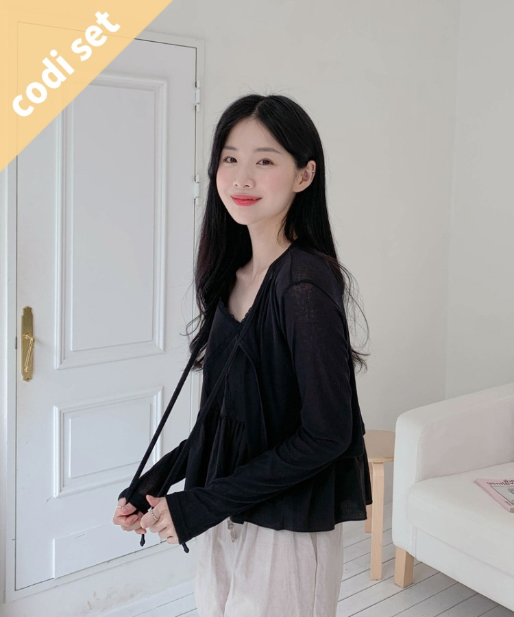 Waist thong cardigan + Billy sleeveless + common banding shorts