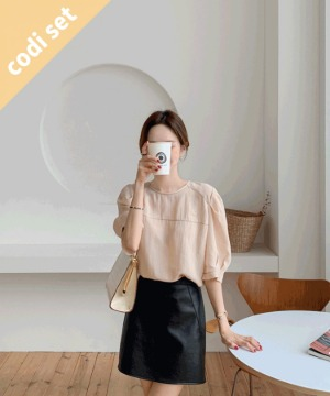 Morning Stitch Blouse + Percent Leather Skirt