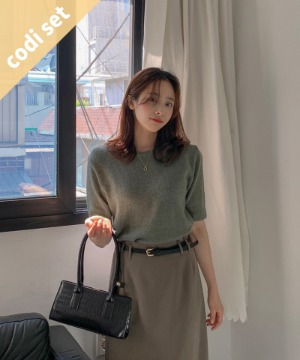 Bunny Cashmere Wool Short Sleeve Knitted Wool 45% + Molle Split Skirt