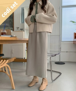 Handmade Oban Winter Coat Wool 90% + Green Tea Wool Knit + Mary Belt Skirt