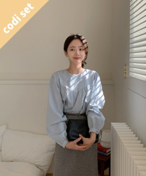 Cozel cotton blouse + rabbit belted skirt