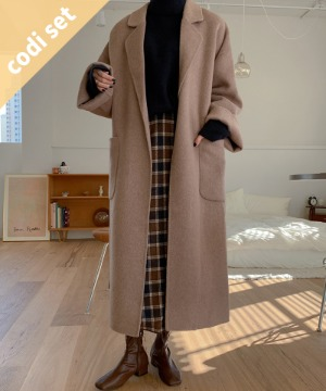 [handmade]Merry wool coat (80%)+Tarrow polanette+Hepburn check skirt