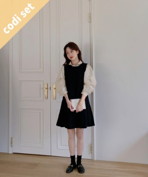 Baby Round Blouse + Stay Pleated Dress 45% Wool