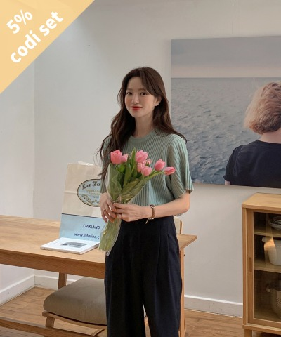 Heart Ribbed Short Sleeve Knit + Buying Denim Pants Women's Clothing Shopping Mall DALTT